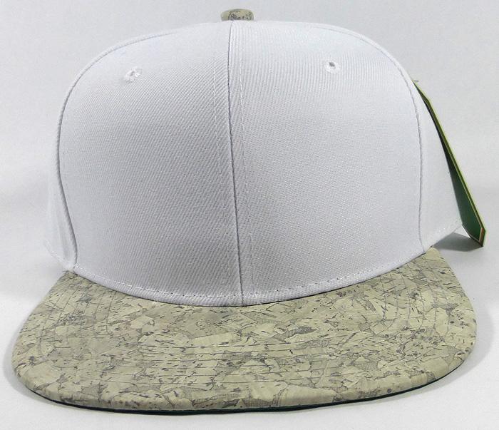9736e7e3d39 Wholesale Plain Cork Snapback Hats - Wood Brim Caps White