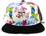 Wholesale Blank Floral Snapbacks Hats - White Flowers ( left 1 pc )