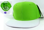 Blank Snapback Hats Caps Wholesale - Lime Green | White