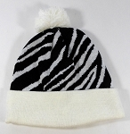 Wholesale Zebra Print Beanies Hats - White