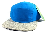 Wholesale Blank Wooden Cork 5-Panel Hats Caps - Blue | Gray