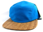 Wholesale Blank Wooden Cork 5-Panel Hats Caps - Blue | Linings
