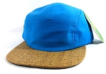 Wholesale Blank Wooden Cork 5-Panel Caps Hats - Blue | Natural