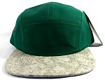 Wholesale Blank Wooden Cork 5-Panel Hats Caps - Green | Gray