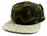 Wholesale Blank Wooden Cork 5-Panel Hats Caps - Camouflage | Gray
