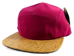 Wholesale Blank Wooden Cork 5-Panel Hats Caps - Burgundy | Natural