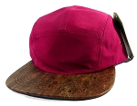 Wholesale Blank Wooden Cork 5-Panel Hats Caps - Burgundy | Auburn