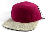 Wholesale Blank Wooden Cork 5-Panel Hats Caps - Burgundy | Gray