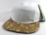 Wholesale Blank Wooden Cork 5-Panel Hats Caps - White | Floral