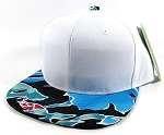 Wholesale Blank Floral Snapback Hats Caps - White | Blue Coral