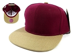 Wholesale Blank Snapback Hats Caps - Burgundy | Khaki