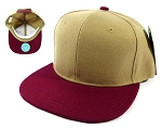 Wholesale Blank Snapback Hats Caps - Khaki | Burgundy