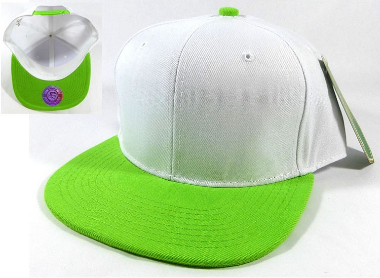 1411d5f69 Wholesale Blank Snapback Hats Caps - White   Lime Green