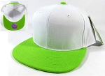 Wholesale Blank Snapback Hats Caps - White | Lime Green