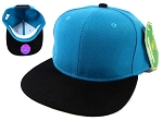 Wholesale Blank Snapback Hats Caps - Turquoise Blue | Black