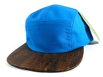 5-Panel Wooden Cork Blank Hats Wholesale - Turquoise Blue