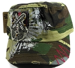 Wholesale Distressed Cowgirl Crossed Pistols Bling Caps - Green Camo