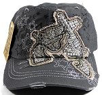 Wholesale Rhinestone Crossed Pistols Cadet Hats - Grey