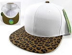Blank Cheetah Snapback Hats Wholesale - White