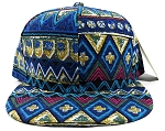 Blank Aztec Snapback Hats Wholesale - Blue