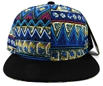Wholesale Blank Aztec Snapback Hats - Blue Pattern