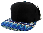 Wholesale Blank Aztec Snapback Caps - Blue