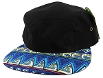 Wholesale Blank 5-Panel Aztec Camp Hats Caps - Blue
