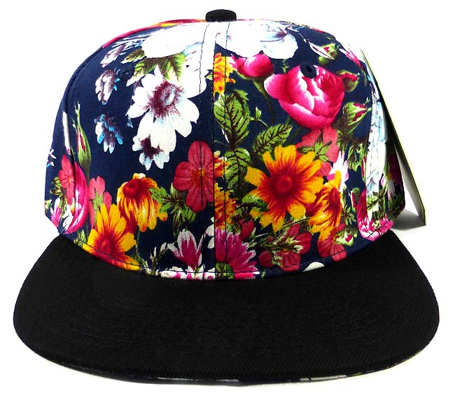 81732d40b4b Home   ALL HATS   Wholesale Blank Floral Snapback Caps - Black