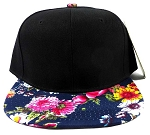 Wholesale Blank Floral Snapback Caps - Black | Multicolored Flowers 3-n