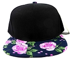 Wholesale Plain Floral Snapback Hats - Pink Roses & Leaves 3