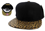 Wholesale Blank Lopard Snapback Hats - Animal Print Caps Black