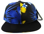 Wholesale Blank Floral Snapback Hats - Night Hawaiian Flower 3