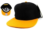 Blank Snapback Hats Wholesale - Black | Golden Yellow