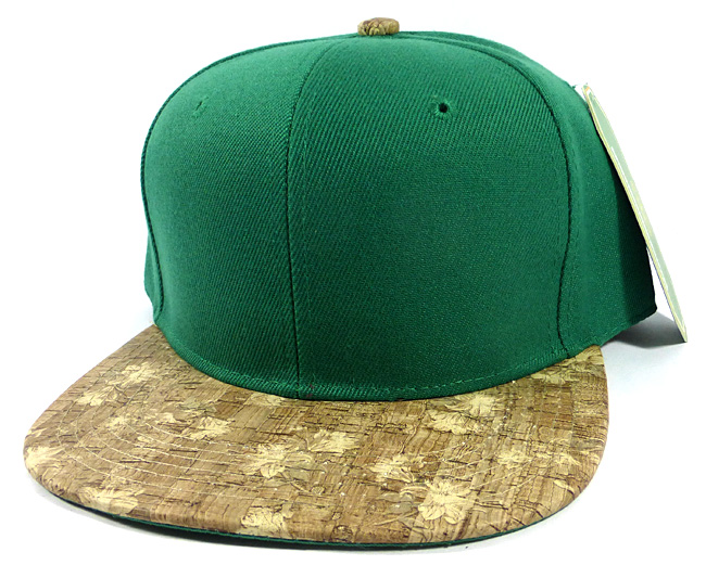 50457ae377c47 Home   ALL HATS   Wholesale Plain Cork Snapback Hats - Wood Brim Caps Green