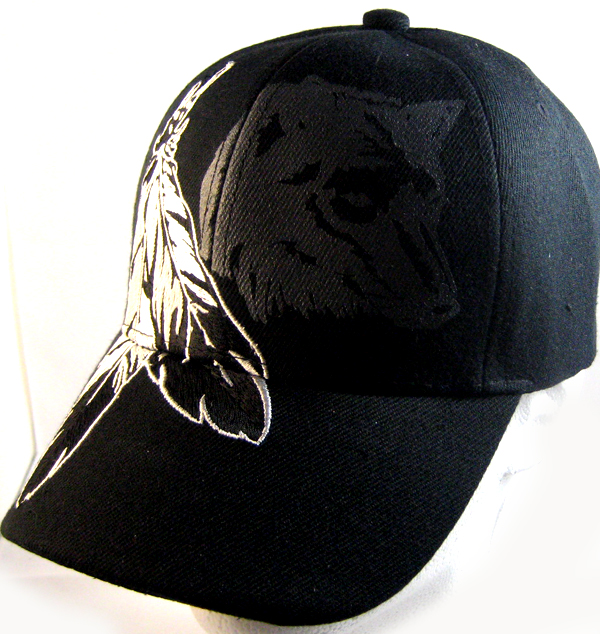 Native Pride Feathers   Wolf Hat - Black Ball Cap Wholesale 197a522d60ac