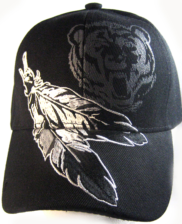 Native Pride Feathers   Bear Hat - Black Ball Cap Wholesale 9cbf3fdb2b2