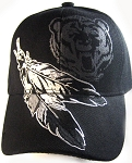 Native Pride Feathers & Bear Hat - Black Ball Cap