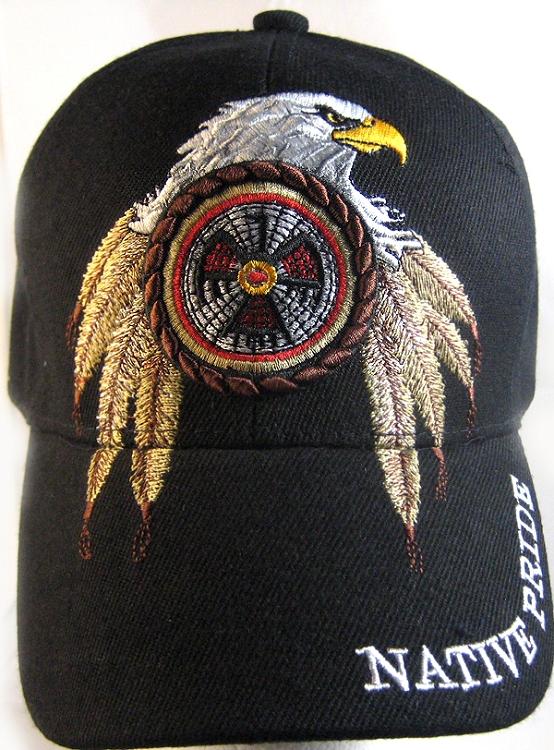 Native Pride Eagle Dreamcatcher Hat - Black Ball Cap Wholesale b67e07ed52f