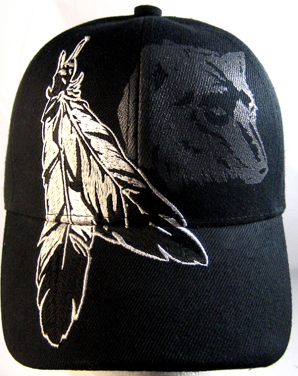 Home   ALL HATS   Native Pride Feathers   Wolf Hat - Black Ball Cap 2899bbc0e73