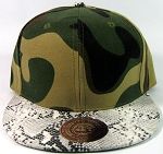 Blank Faux Snakeskin Vintage Snapbacks Hats Wholesale - Camo White