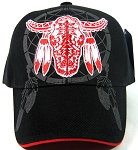 Native Pride Caps Wholesale - Buffalo Skull & Dreamcatcher Hats - Black / Red