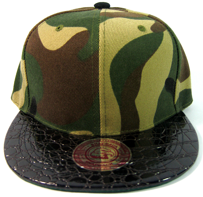 Blank Faux Alligator Skin Retro Snapback Hats Wholesale - Camo d8be6145c99b
