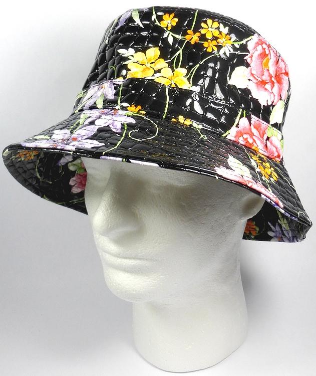 PU Wholesale Blank Bucket Hats - Alligator Pattern - Black Flowers c697aa4767d