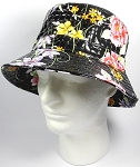 PU Wholesale Blank Bucket Hats - Alligator Pattern - Black Flowers
