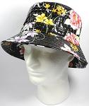 PU Wholesale Blank Bucket Hats - Alligator Pattern - Black Flowers 7d55da7e831d