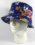 PU Wholesale Blank Bucket Hats - Alligator Pattern - Blue Flowers