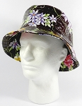PU Wholesale Blank Bucket Hats - Alligator Pattern - Brown Flowers
