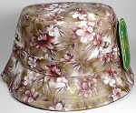 PU Wholesale Plain Bucket Hats - Brown Flowers