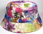 Wholesale Blank Bucket Hats - Shiny Flower / Brown Purple