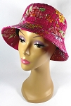 PU Wholesale Blank Bucket Hats - Alligator Pattern - Hot Pink Flowers